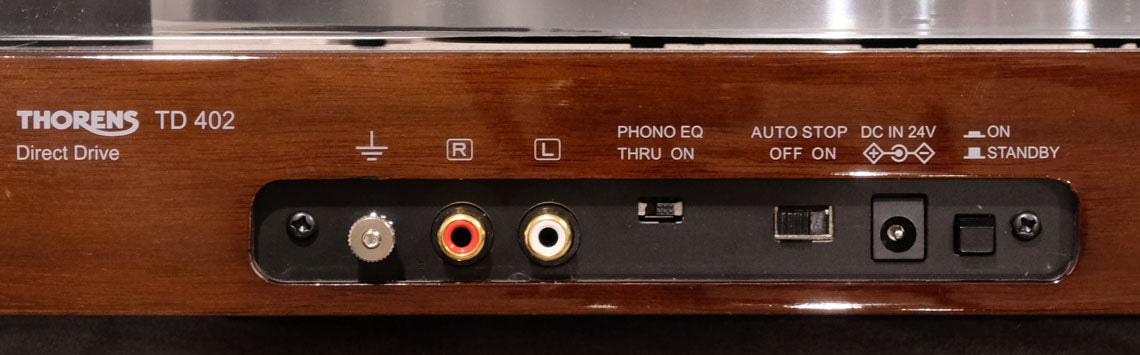 Thorens TD402 DD turntable connections and switches