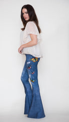 Digital Denim Bell Bottom Leggings with Butterflies