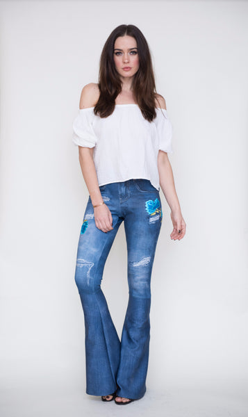 Digital Denim Bell Bottom Leggings with Blue Roses