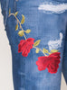 Digital Denim Bell Bottom Leggings with Red Roses