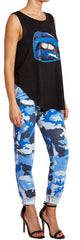 Blue & White Camouflage Joggers