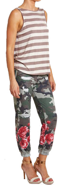Digital Camouflage Joggers with Red Roses