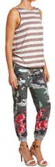 Camouflage Digital Joggers with Red Roses