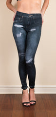 Dark Wash Digital Printed Leggings