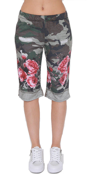 Digital Camouflage Shorts with Roses