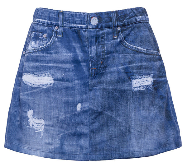 Digital Denim Mini Skirt