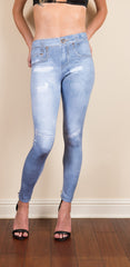 Light-Washed Digital Printed Leggings