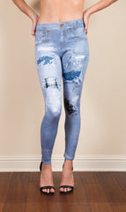 Digital Denim Patchwork Printed Leggings