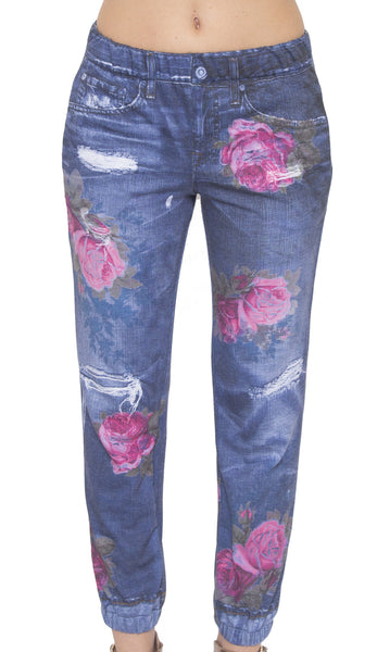 Digital Denim Joggers with Roses