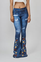 Digital Denim Bell Bottom Leggings with Flowers and Bees