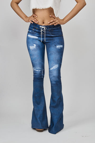 Digital Denim Bell bottom with Tie  Front Detail