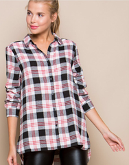 Plaid High-low button down Shirt