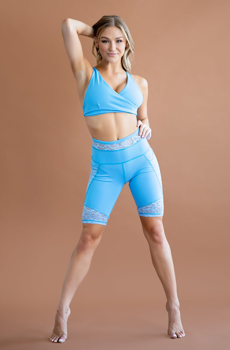 Nova Bike Short- Sky Blue/ Lace