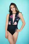 Blossom Leotard- Two Tone Black Floral