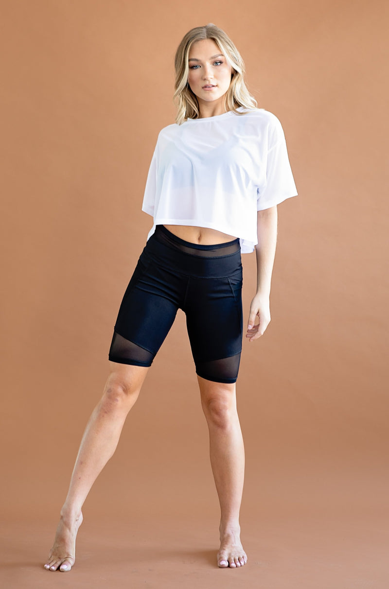 Zeta Top- Oversized Mesh Crop Shirt