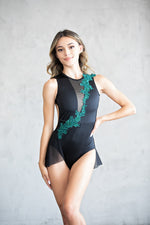 Leotard- Deep V-Mesh