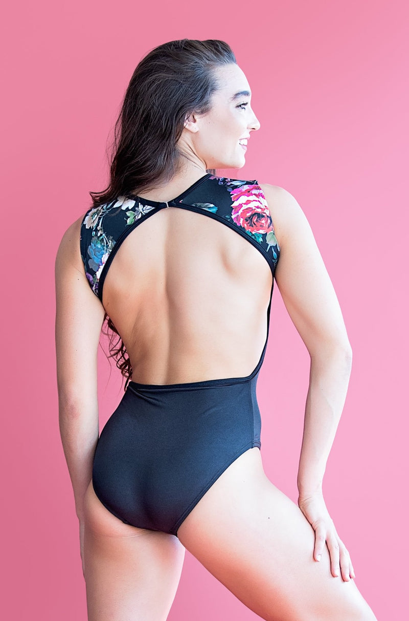 Victoria Leotard-  Two Tone Roses Floral