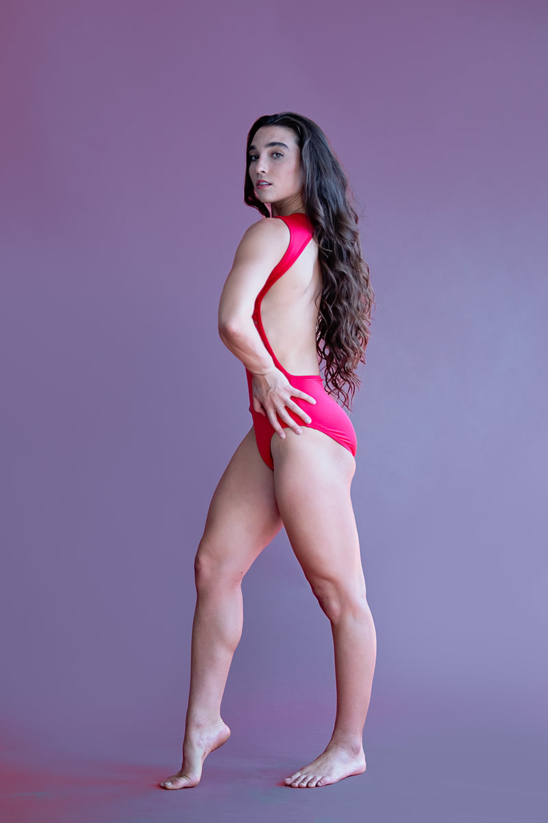 Victoria Leotard- Red Satin and Lace
