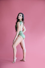 Victoria Leotard- Green Satin and Lace