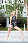 Victoria Leotard- Black Wildflower Floral
