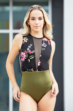 Blossom Leotard- Two Tone Green & Black Floral