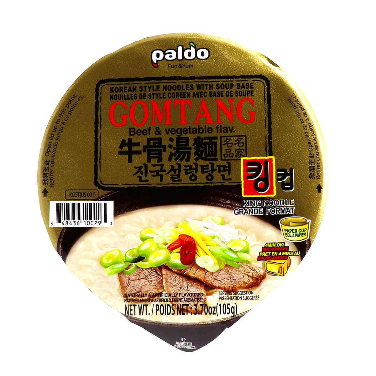Paldo Gomtang King Cup Korean Soup Ramen Noodles Beef and Vegetable Flavored 3.7 Oz (105 g)