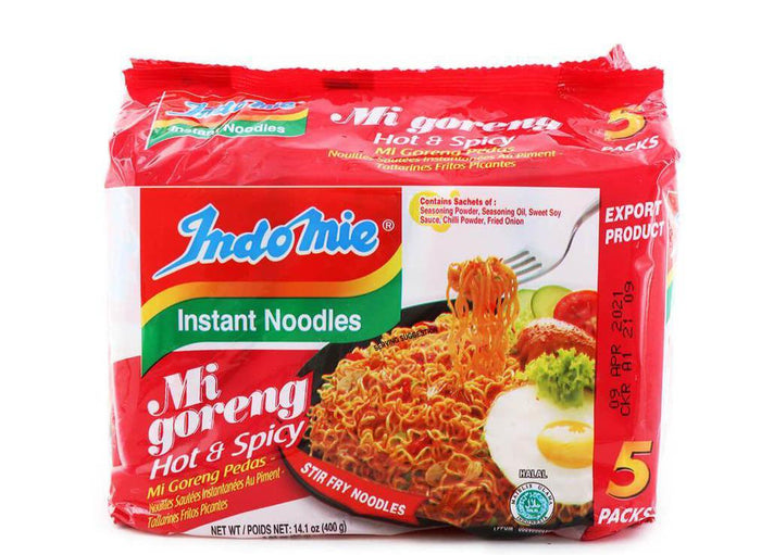 Indomie Mi Goreng Hot and Spicy Stir Fry Instant Noodles (2.82 Oz x 5 PACK)