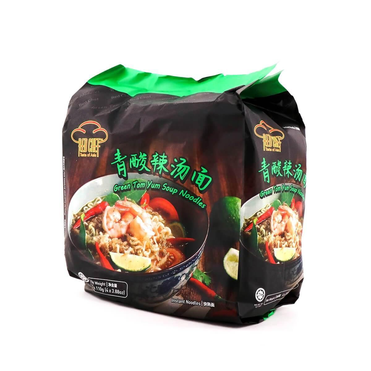 Red Chef Green Tom Yum Soup Noodles 4 PACKS 15.52 Oz (440 g) - 青酸辣汤面
