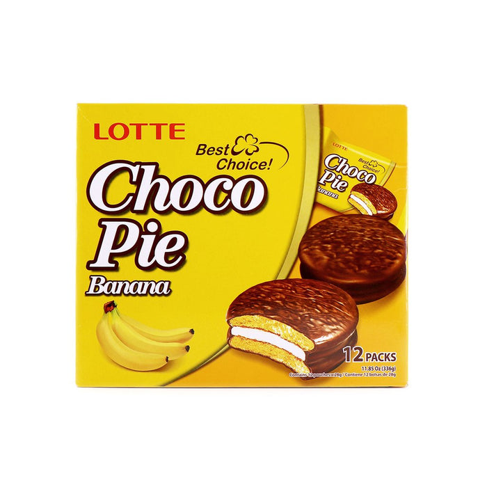 LOTTE Choco Pie Banana Flavor 11.85 Oz (336 g) - 12 PACKS
