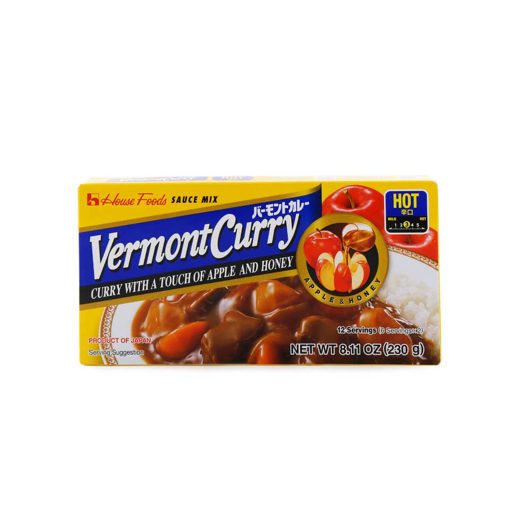 House Foods Vermont Curry - Curry Hot with a Touch of Apple and Honey 8.11 Oz (230 g)