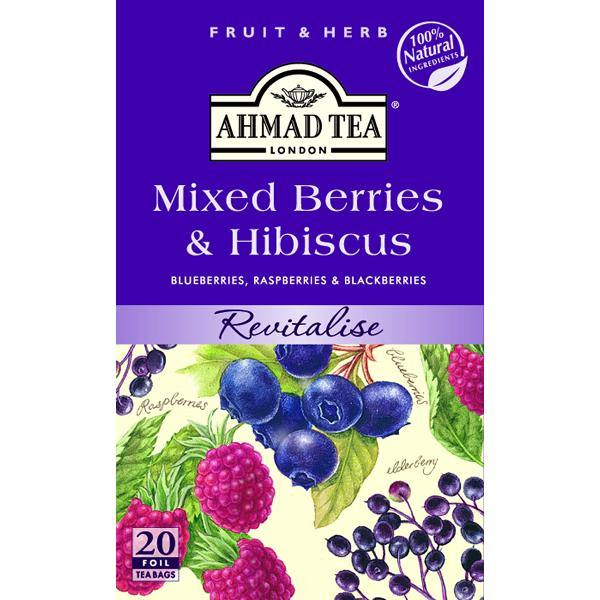 Ahmad Tea Mixed Berries & Hibiscus Herbal Tea 20 Tea Bags 1.40 Oz (40 g)