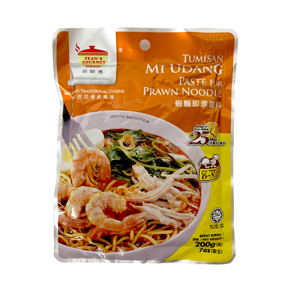 Tean's Gourmet Malaysian Traditional Tumisan Mi Udang | Paste for Prawn Noodles | Paste for Shrimp Noodles | Paste for Seafood Noodles  7 Oz (200 g) - 马来西田师傅虾面即煮酱料