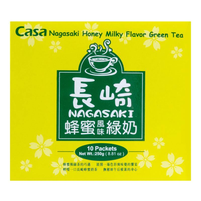 Casa Nagasaki Honey Milky Flavor Green Tea 10 Packets 8.81 Oz (250 g) - 台湾CASA卡萨 长崎蜂蜜绿奶奶茶