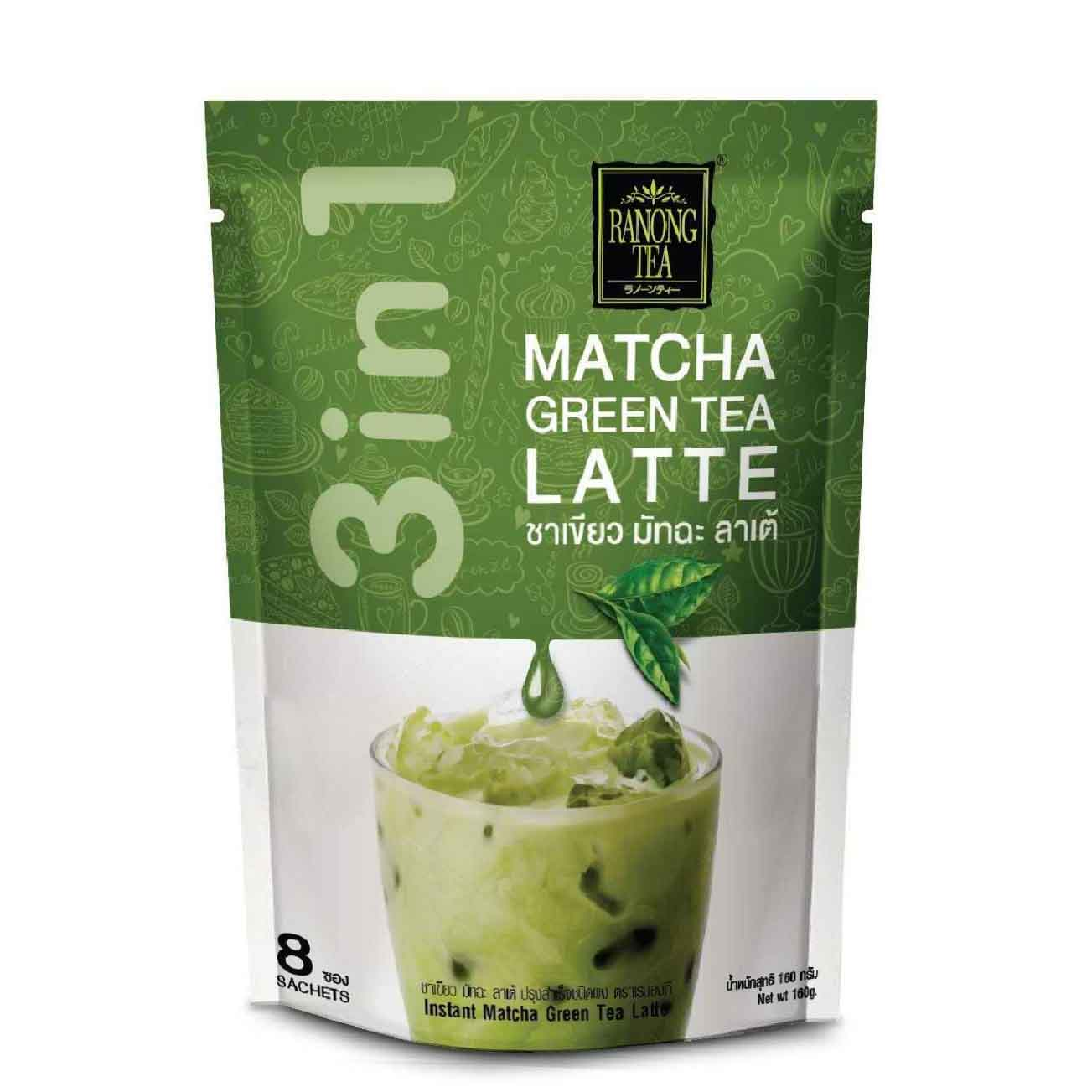 Ranong Tea 3 in 1 Instant Matcha Green Tea Latte 5.64 Oz (160 g)