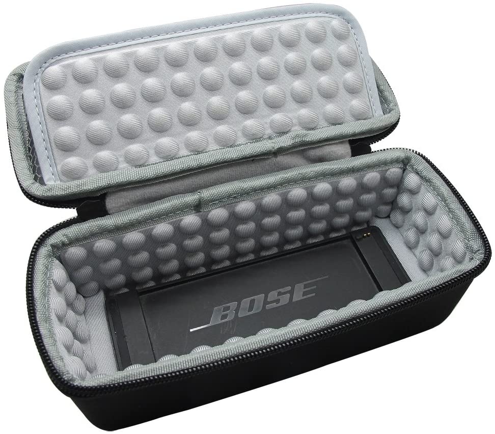 Hard Case for Bose SoundLink Mini / Mini 2 Bluetooth Speaker with Soft Silicone Case, Mesh Accessory Pocket, Black
