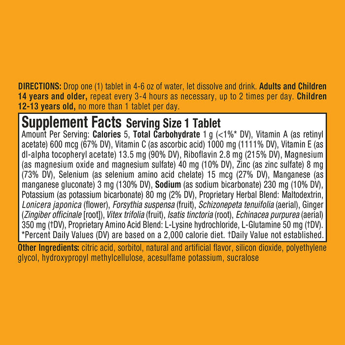 Vitamin C 1000mg Airborne Zesty Orange Effervescent Tablets 2.4 Oz (10 Counts Per Box)