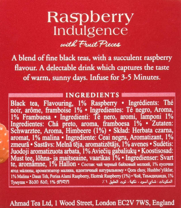 Ahmad Tea Raspberry Indulgence Black Tea 20 Tea Bags 1.40 Oz (40 g)