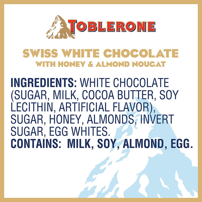 Toblerone Swiss White Chocolate With Honey and Almond Nougat 3.52 Oz (100 g)