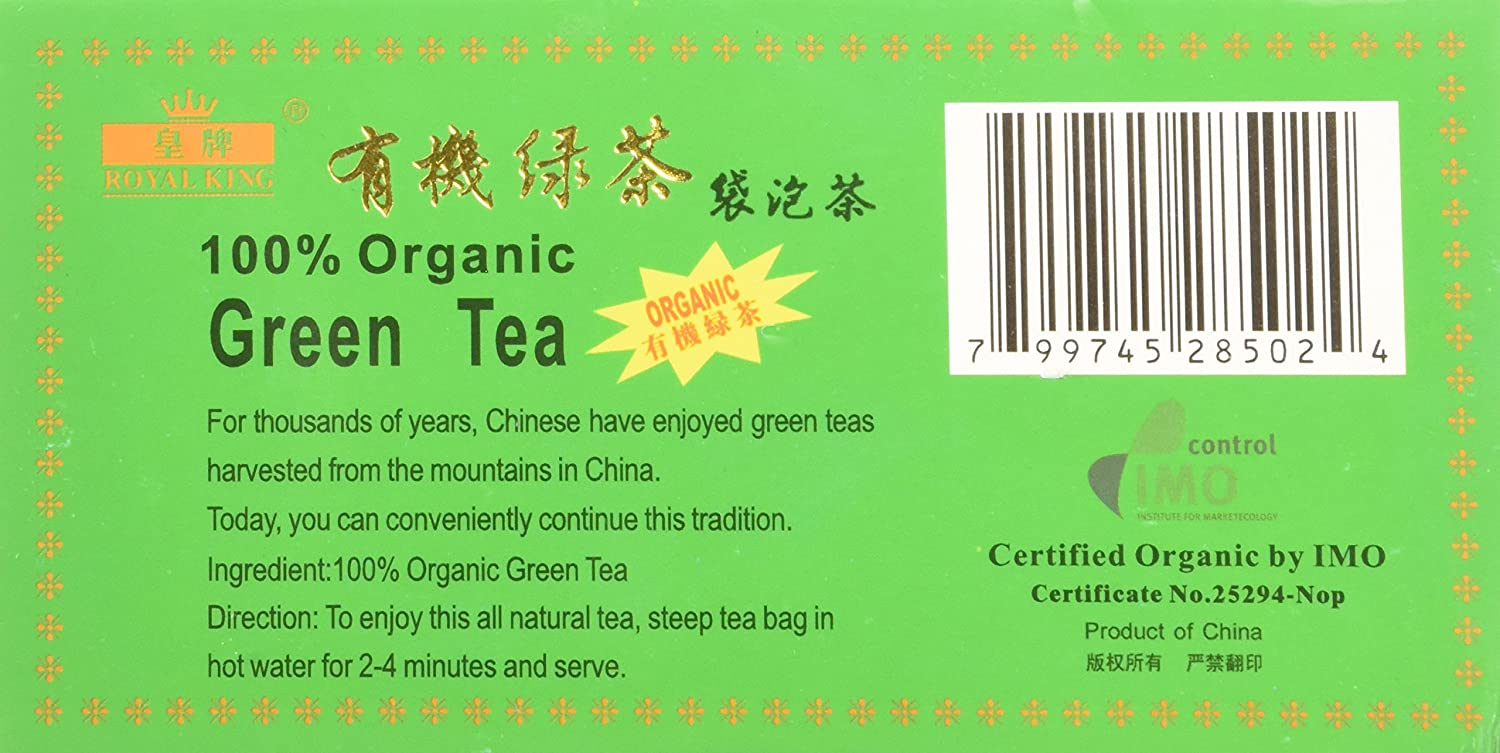 Royal King 100% Organic Green Tea 100 Tea Bags 7.05 Oz (200 g)
