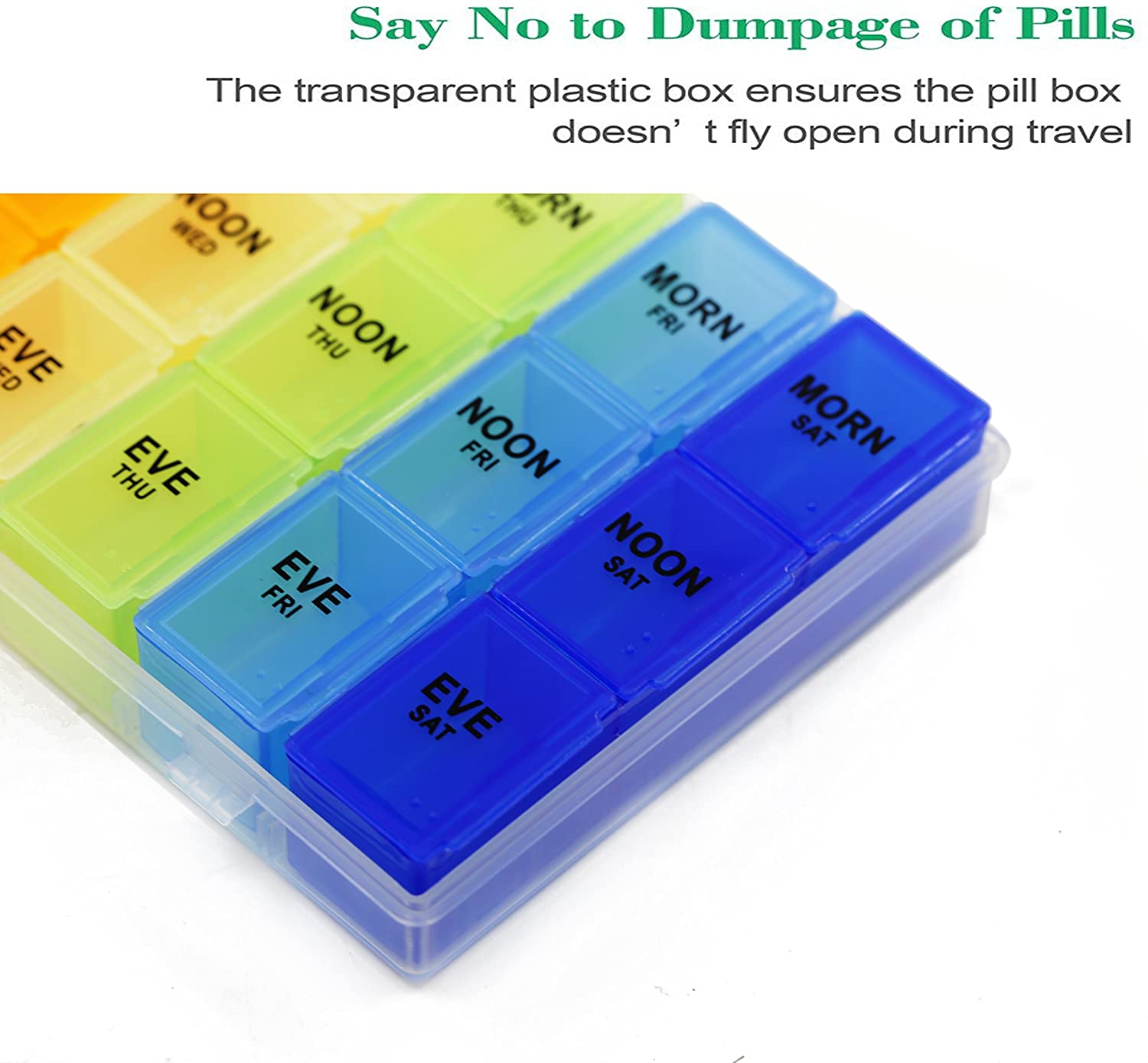 Inspiration Industry Pill Organizer - Pillbox with hinged lid 7 days AM/PM with Removable Compartments for Pills and Vitamins -  21 Compartment