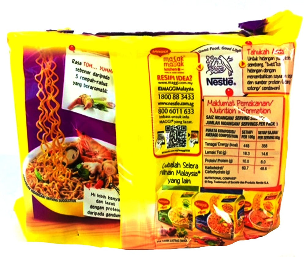 Maggi Nestle Malaysia 2 Minute Instant  Tom Yam Flavour Masala Noodles 5 Packs