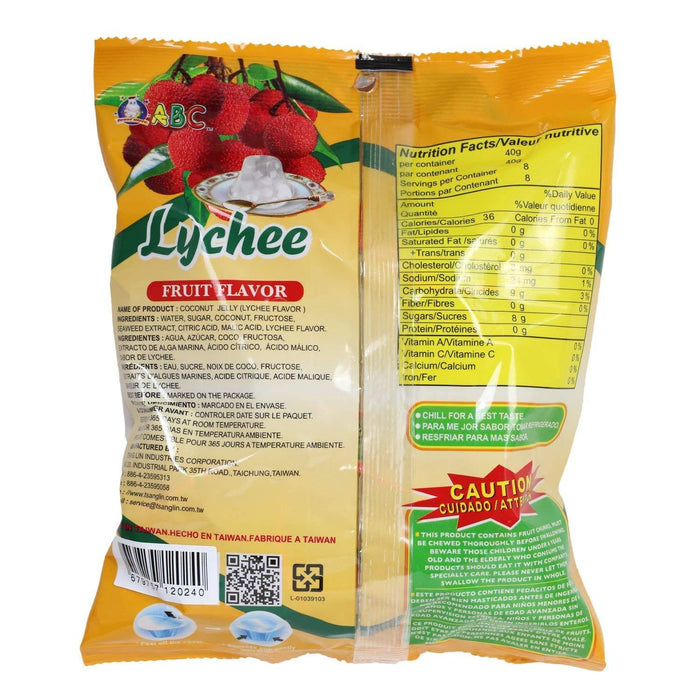 ABC Jelly Natural Fruit Snacks Lychee Flavor 10.5 Oz (300 g)