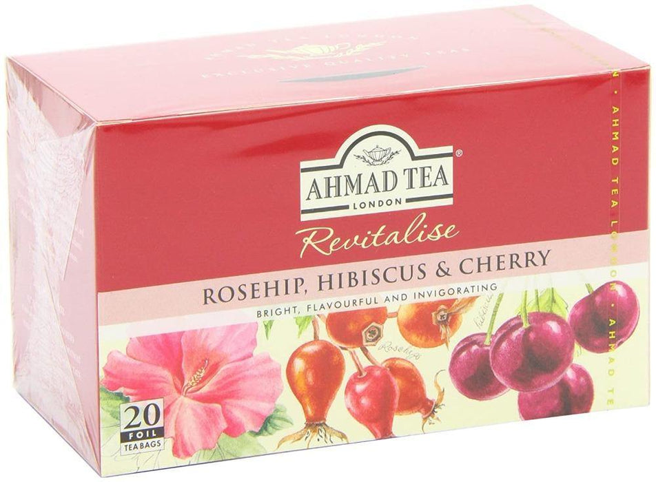 Ahmad Tea Rosehip, Hibiscus & Cherry Herbal Tea 20 Tea Bags 1.40 Oz (40 g)