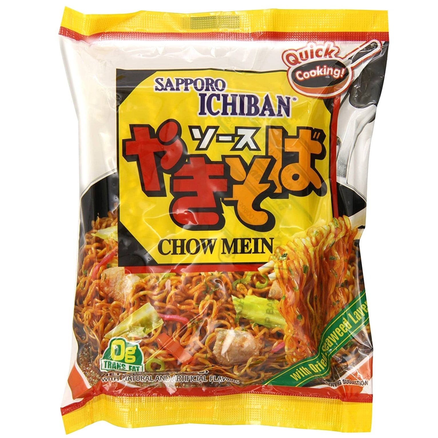 Sapporo Ichiban Chow Mein Yakisoba Japanese Style Noodles 3.6 Oz (102 g) Packages (Pack of 24)