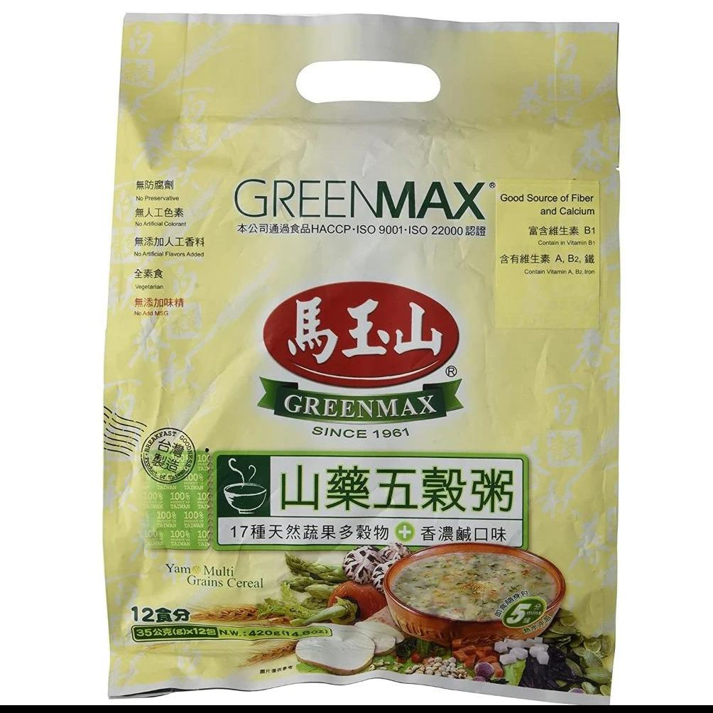 GreenMax Yam Multi Grains Cereal 马玉山药五谷粥 (12 Sachets X 35 g) 14.8 Oz (420 g)