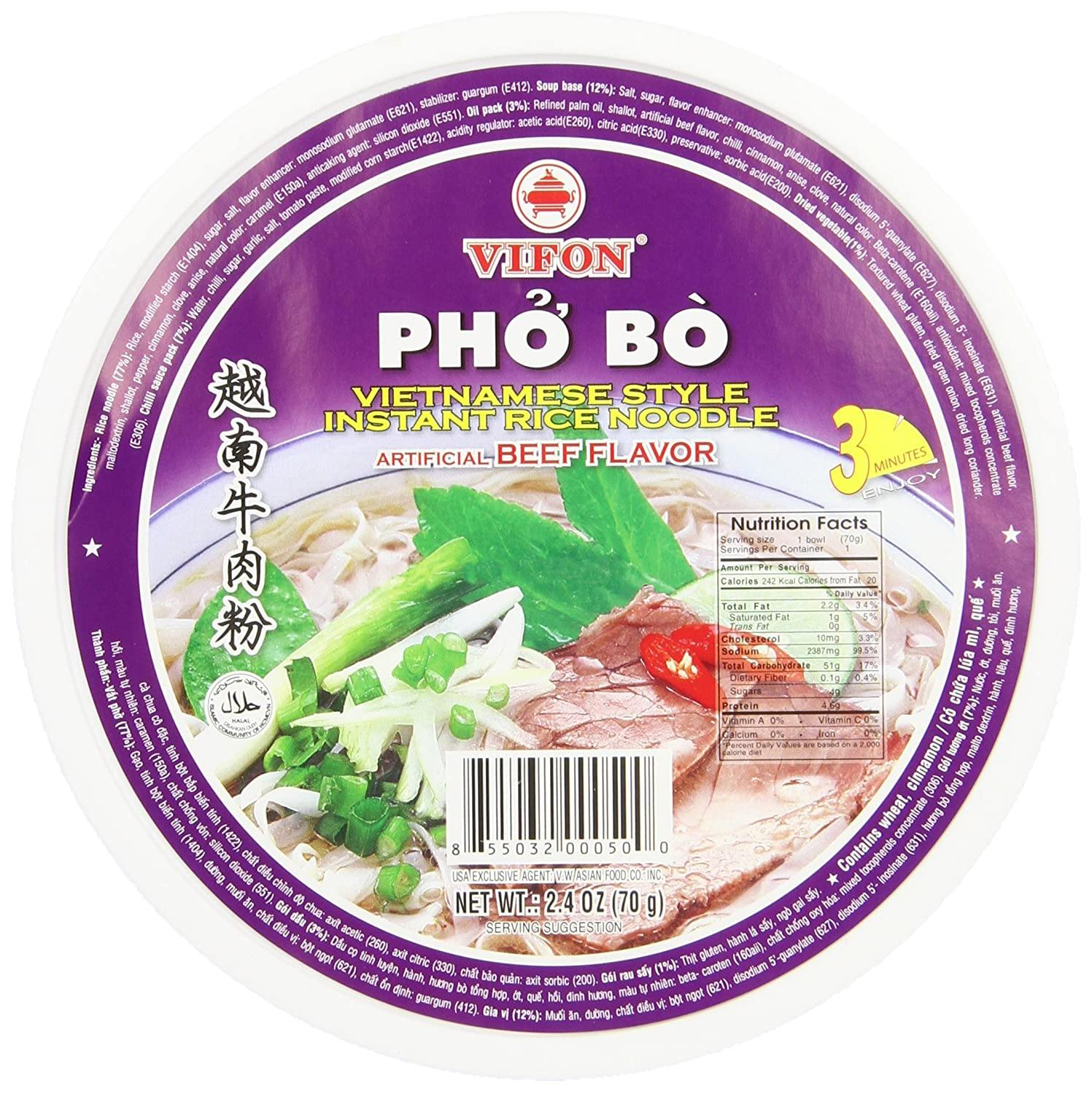 Vifon Cup Vietnamese Style Instant Rice Noodles Beef Flavour Pho (Pho Bo) 2.4 Oz (70 g)