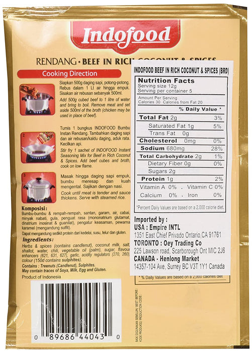 Indofood Rendang Instant Seasoning Mix for Beef in Rich Coconut & Spices 2.1 Oz (60 g)
