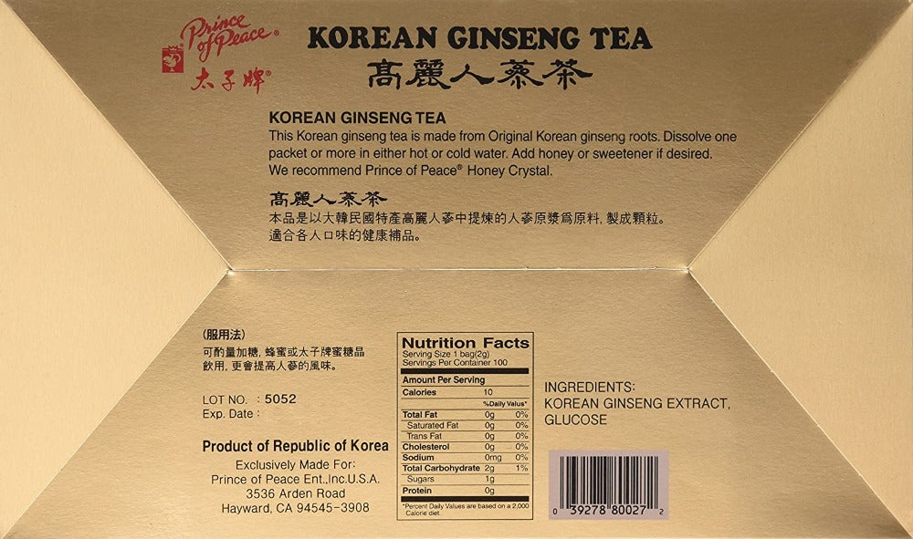 Prince Of Peace Instant Korean Ginseng Tea 100 Counts 7 Oz (200 g)