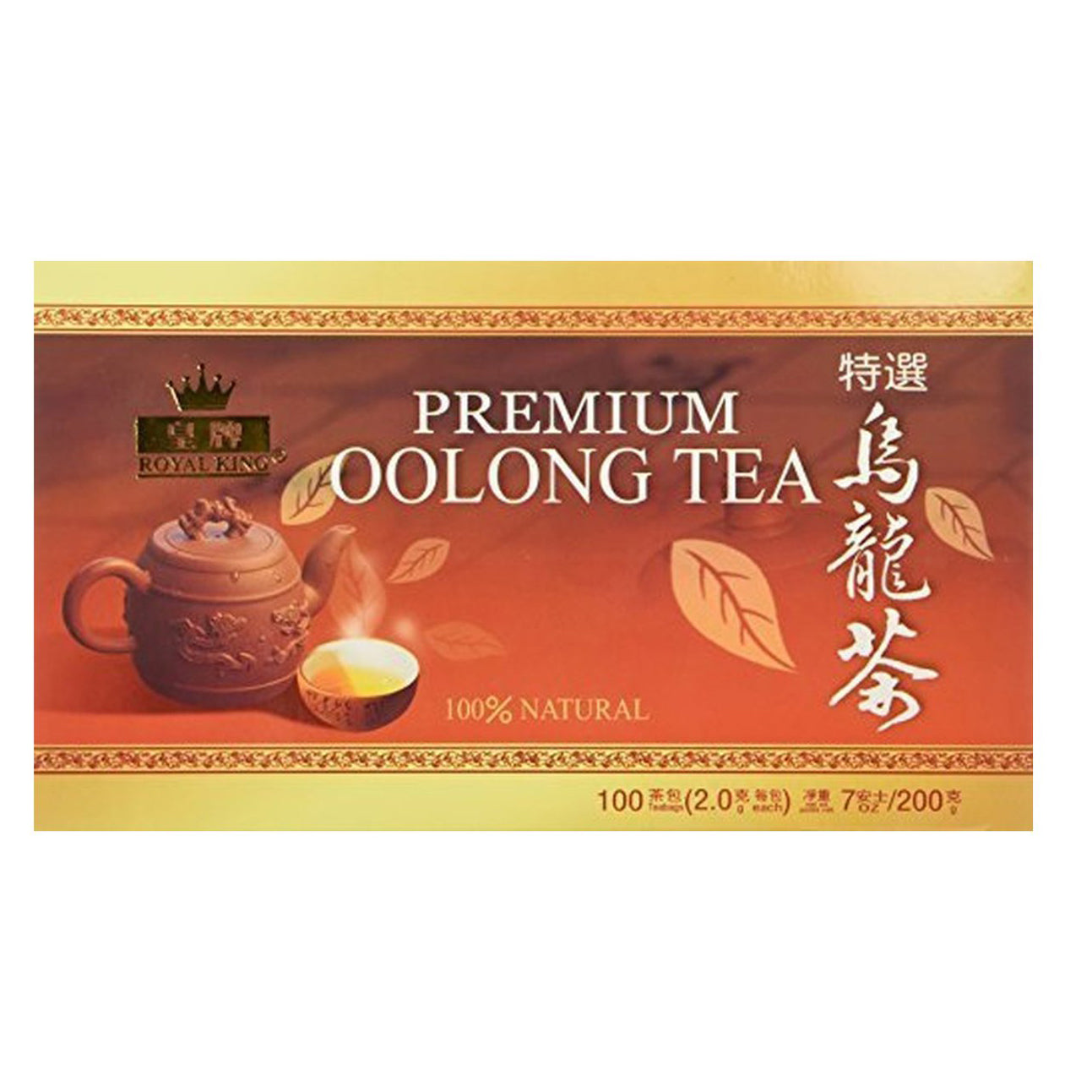 Royal King Premium Oolong Tea 100% Natural 100 Tea Bags 7 Oz (200 g)