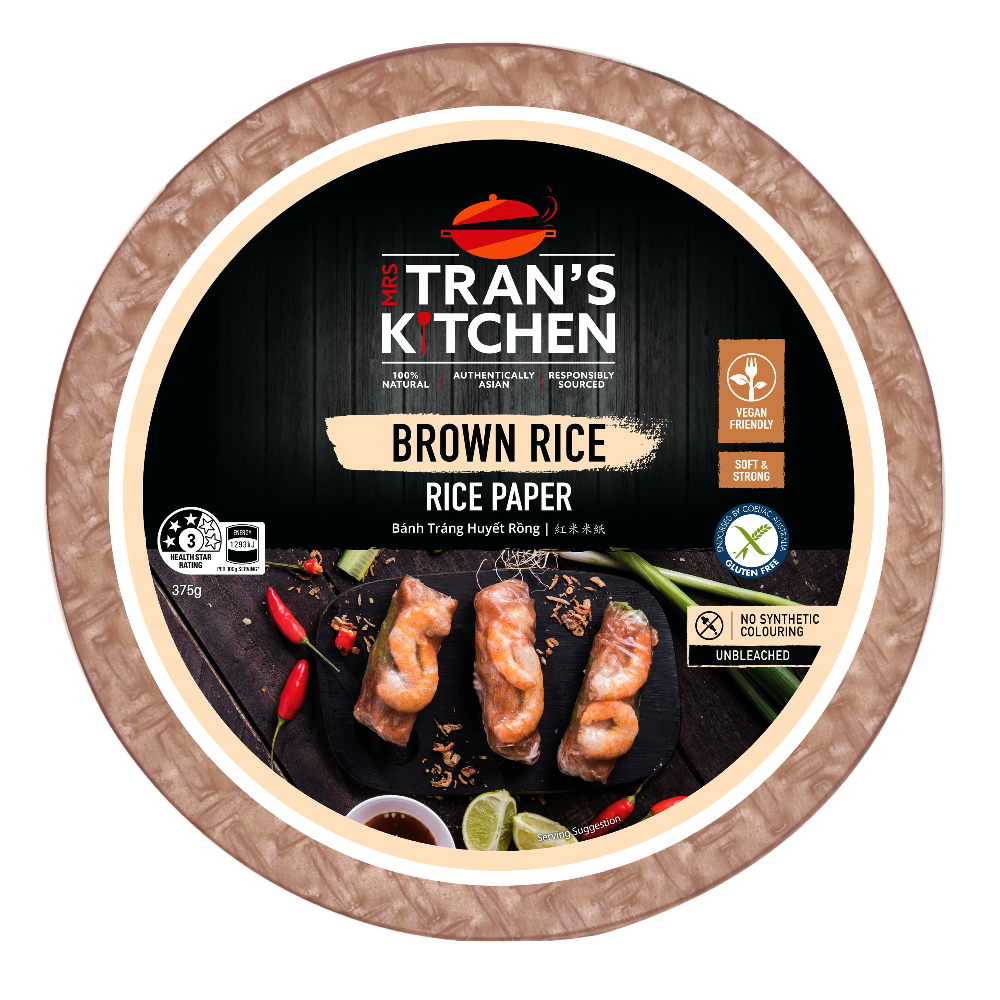 Mrs. Tran's Kitchen Black Brown Rice Paper Spring Roll Wrapper 8.75 inches 375 g